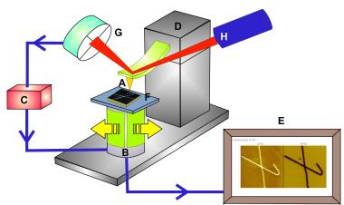Desenho esquemático dos componentes comuns a todos os Microscópios de Varredura por Sonda Mecânica.