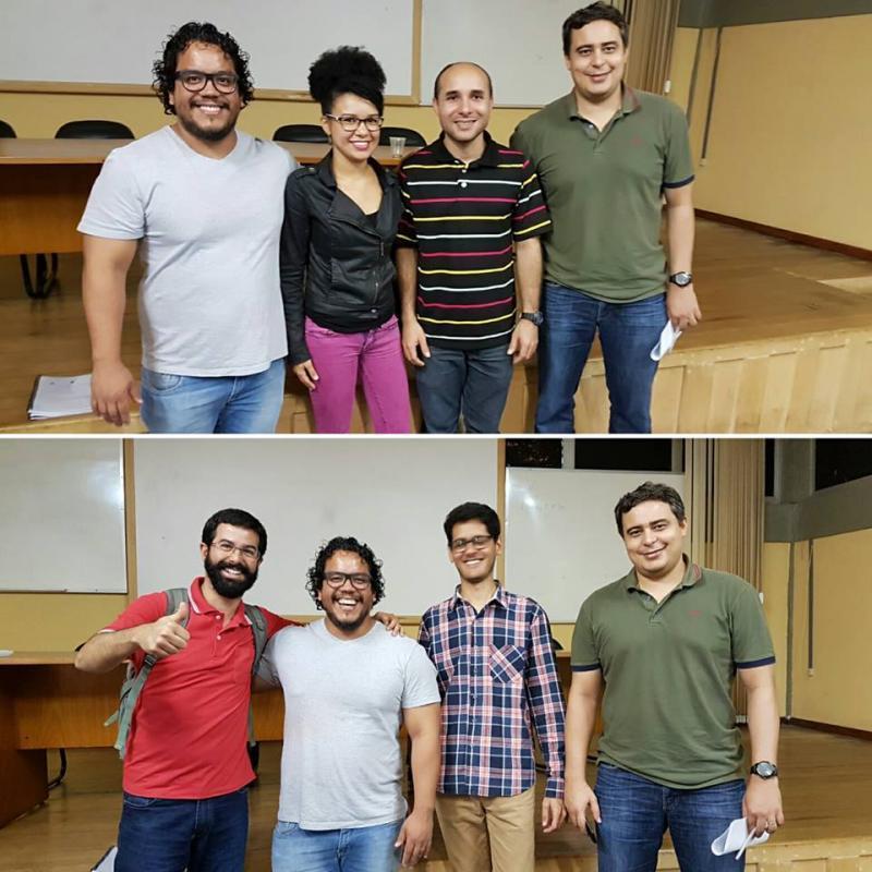 Banca dos alunos Genilson (acima) e Bruno (abaixo). Professores: Ronaldo, Matheus, Alan e Regiane