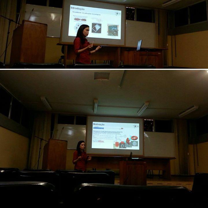 Defesa de Qualificação da estudante Ana Carolina Brito com o tema: Síntese, caracterização e estudo fotofisico de um novo análog