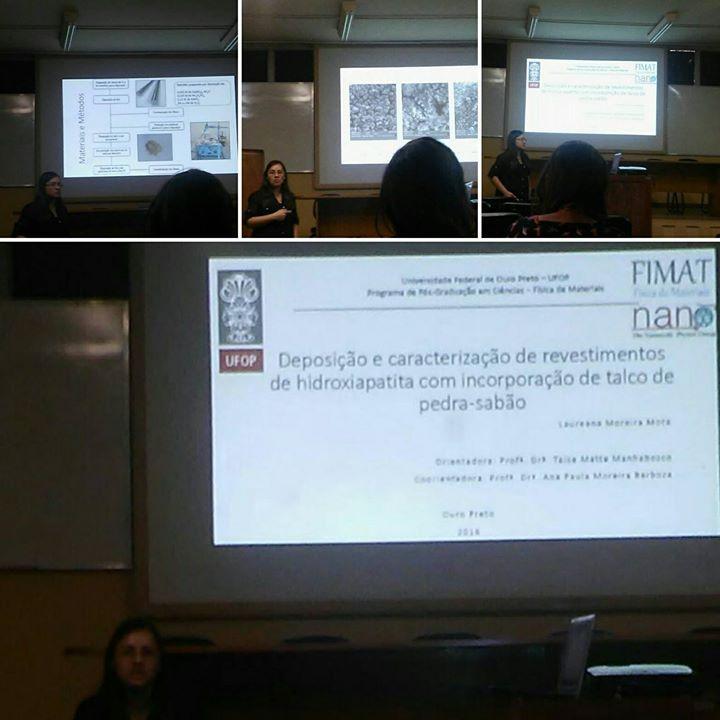 """Defesa da estudante Laureana Mota """"Deposição e caracterização de revestimentos de hidroxiapatita com incorporação de talco de pe"""
