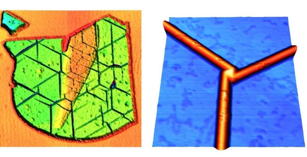 Imagens de AFM de: um floco de h-NB de 10 nm de espessura após o tratamento térmico apresentando um padrão de dobras.