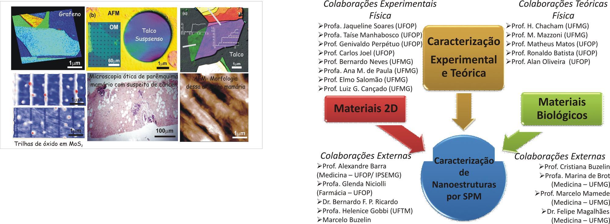 Algumas imagens associadas com os projetos anteriormente citados e as colaborações já estabelecidas